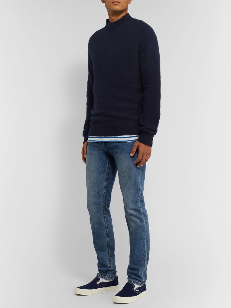 YMC Brushed-Wool Mock-Neck Sweater