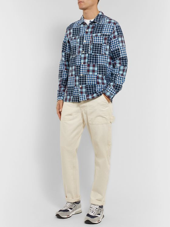Universal Works Patchwork Checked Cotton-Flannel Overshirt