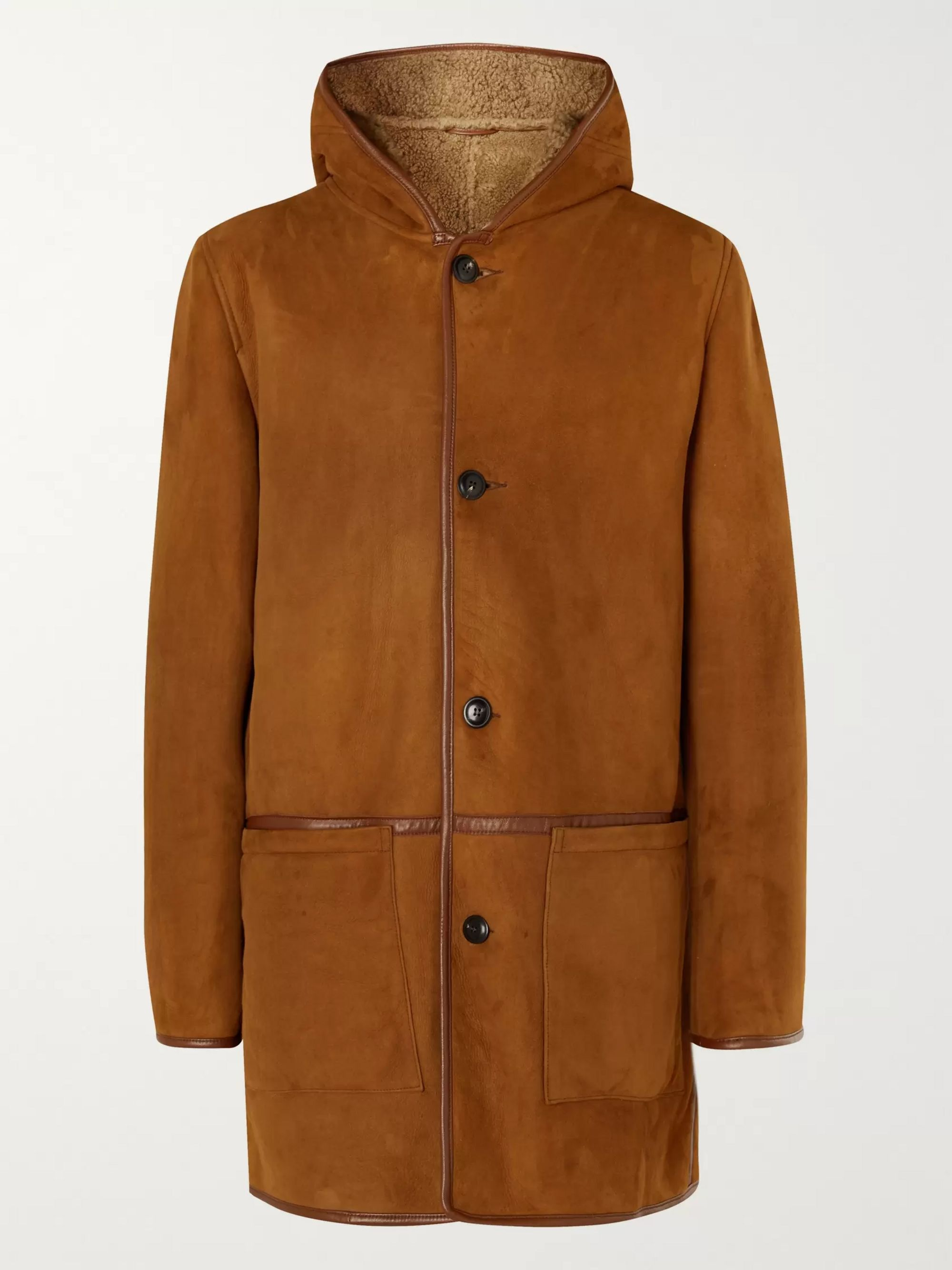 YMC Beat Generation Leather-Trimmed Shearling Hooded Coat