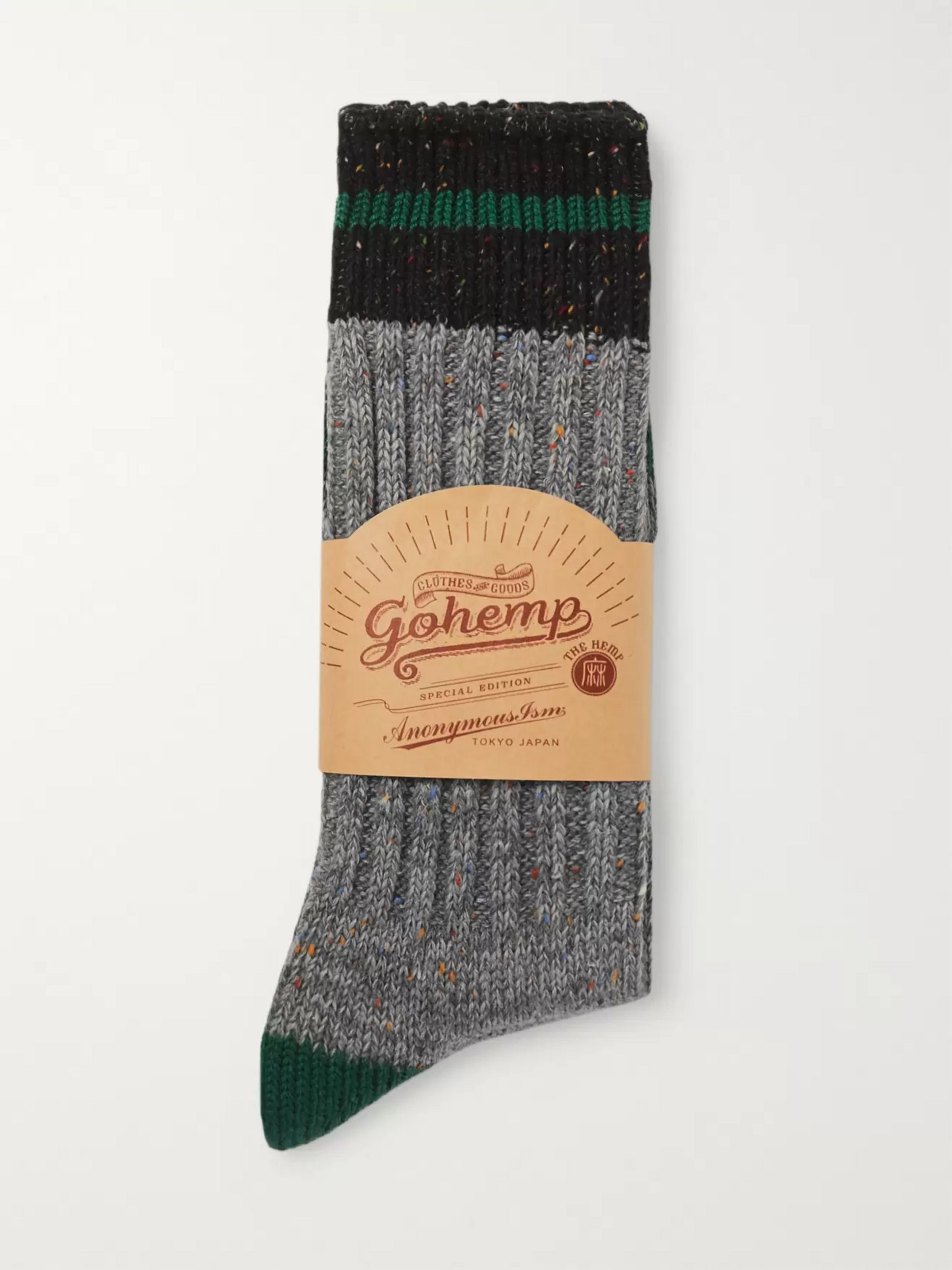 Anonymous Ism Mélange Ribbed-Knit Socks