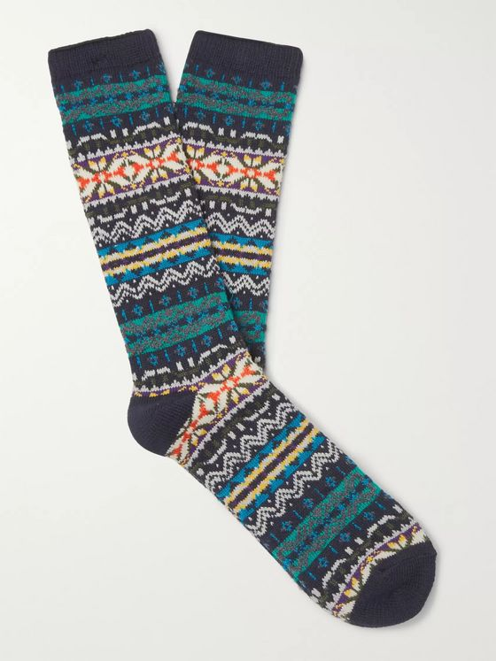 Anonymous Ism Fair Isle Cotton-Blend Socks