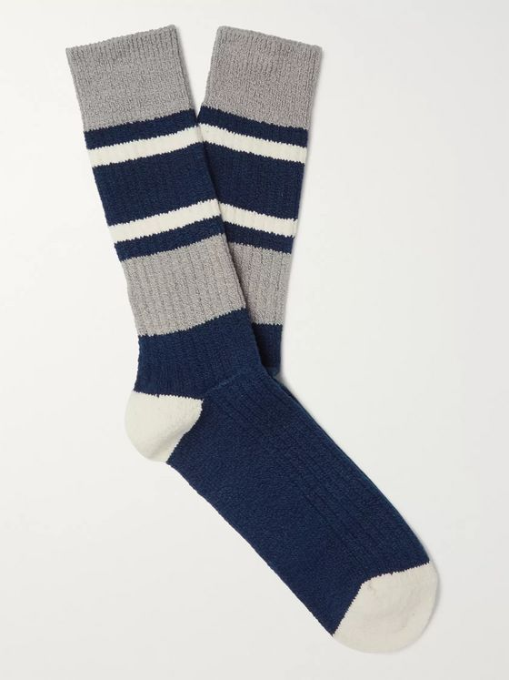 Anonymous Ism Striped Ribbed Cotton-Blend Socks