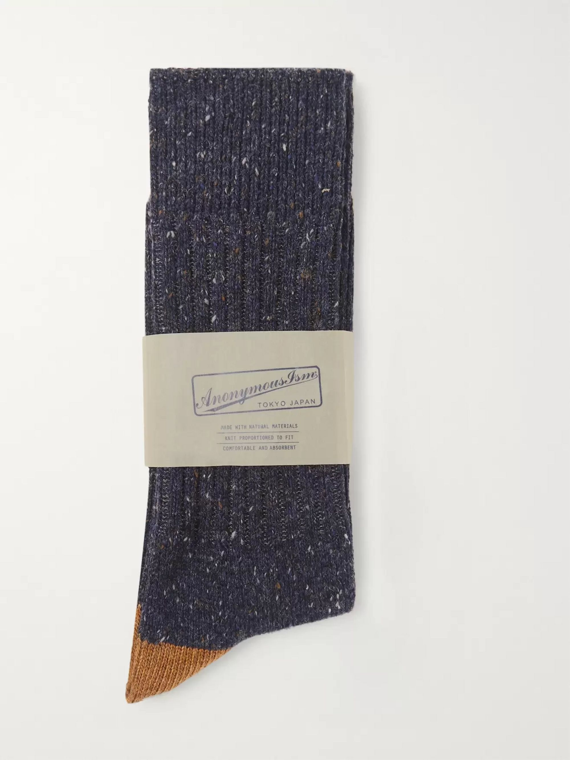 Anonymous Ism Two-Tone Mélange Knitted Socks