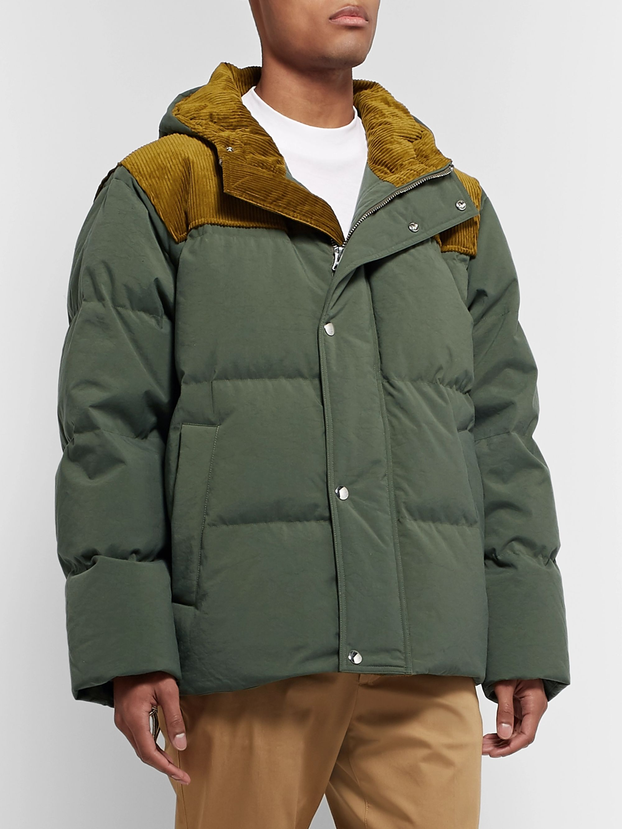 Acne Studios Oversized Corduroy-Trimmed Quilted Nylon Down Jacket