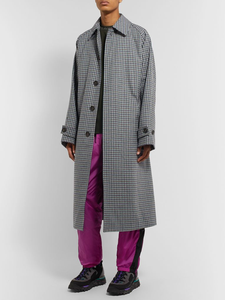 Acne Studios Oversized Belted Gingham Wool-Blend Coat
