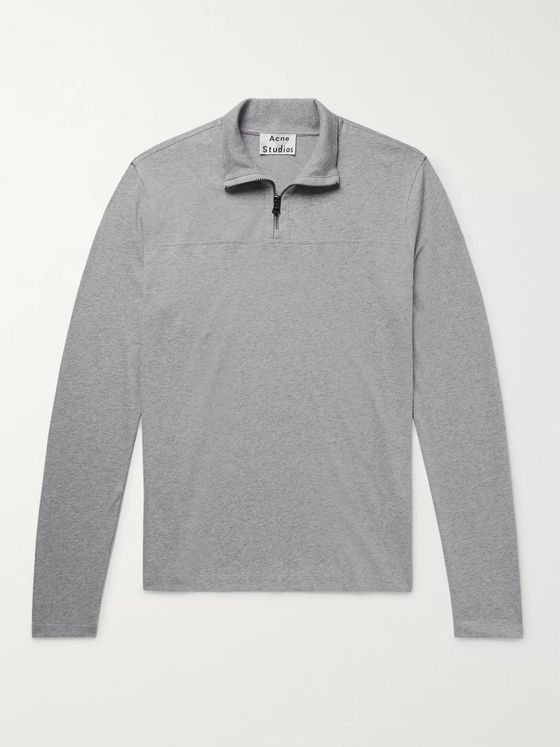 Acne Studios Evias Mélange Cotton-Jersey Half-Zip Shirt