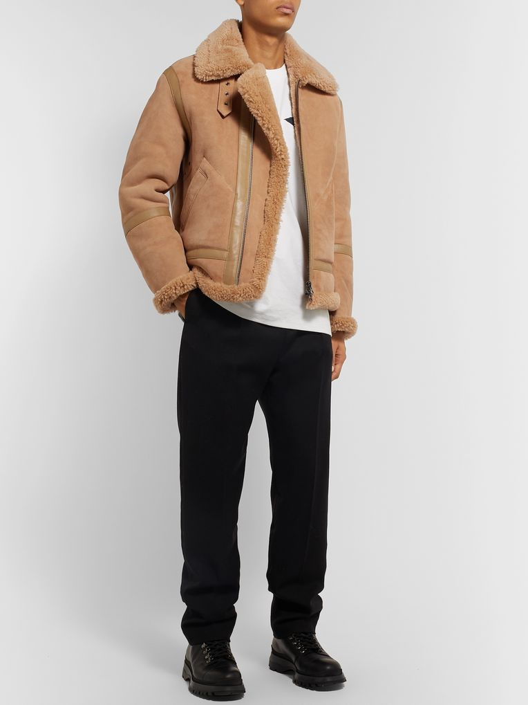 Acne Studios Ian Leather-Trimmed Shearling Jacket