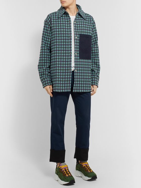 Acne Studios Oversized Twill-Trimmed Checked Flannel Overshirt