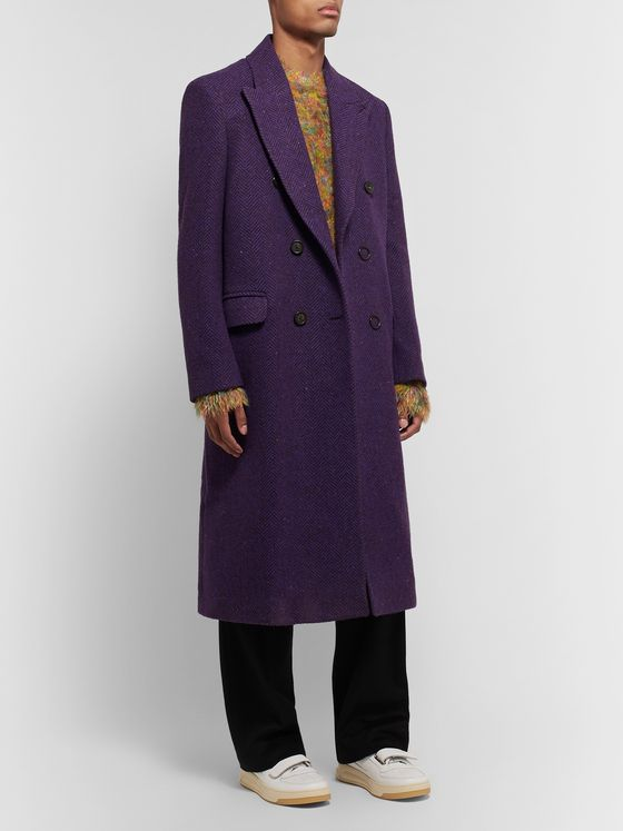 Acne Studios Onslow Double-Breasted Herringbone Wool-Blend Overcoat
