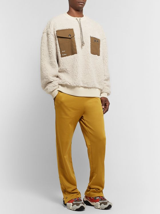 Acne Studios Fabion Cotton Canvas-Trimmed Fleece Sweatshirt