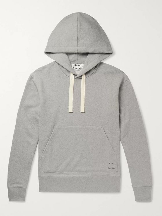 Acne Studios Logo-Print Mélange Loopback Cotton-Jersey Hoodie