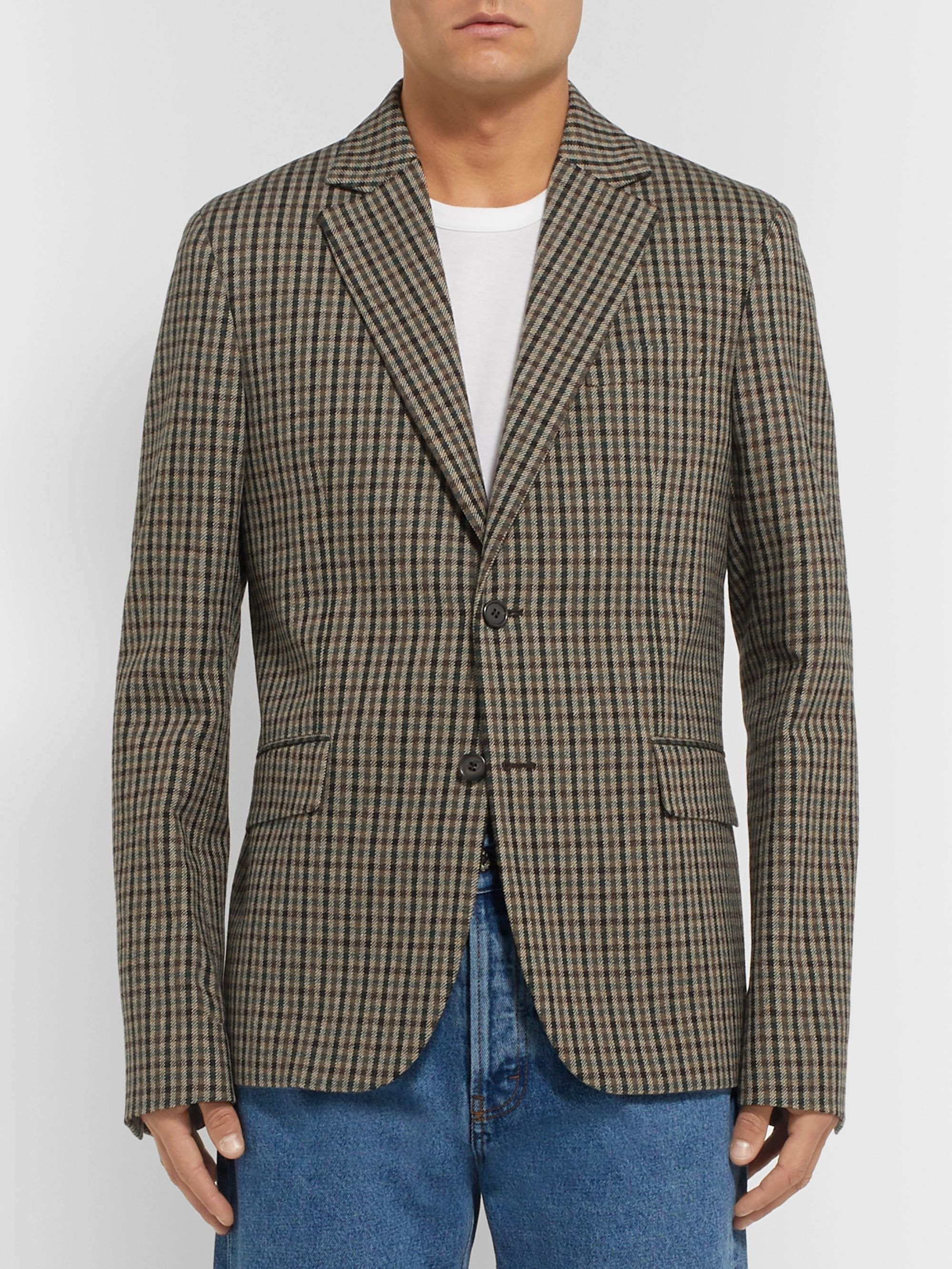 Acne Studios Brown Jason Checked Wool-Blend Blazer