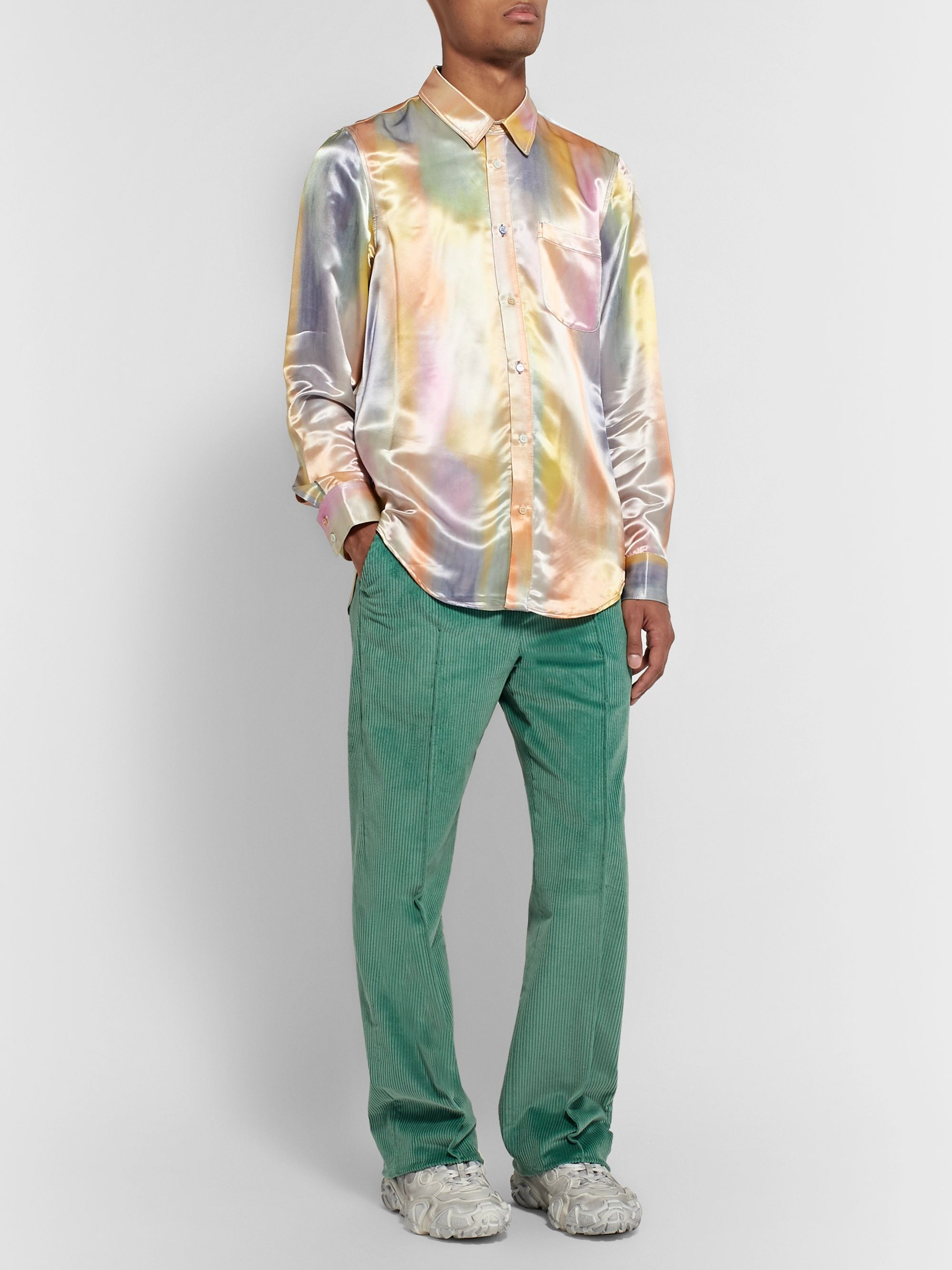 Acne Studios Mint Jagger Wide-Leg Cotton-Corduroy Suit Trousers