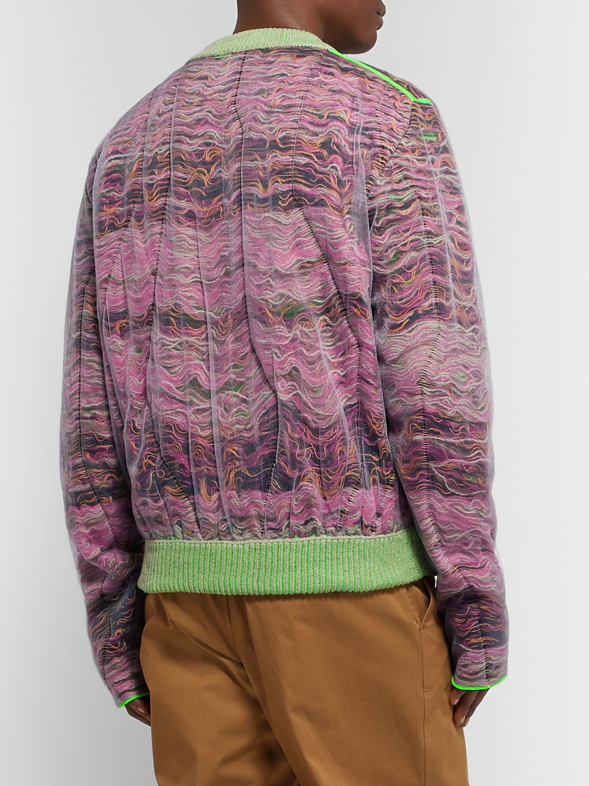 Acne Studios Klement Layered Tulle and Open-Knit Sweater