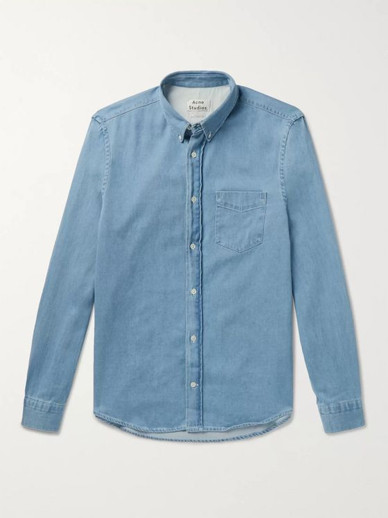 Acne Studios Button-Down Collar Cotton-Chambray Shirt