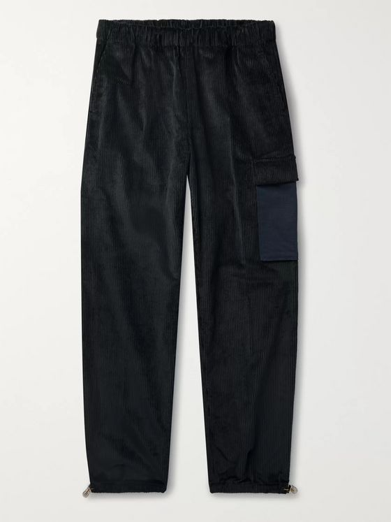 ACNE STUDIOS Payden Tapered Canvas-Panelled Cotton-Corduroy Cargo Trousers
