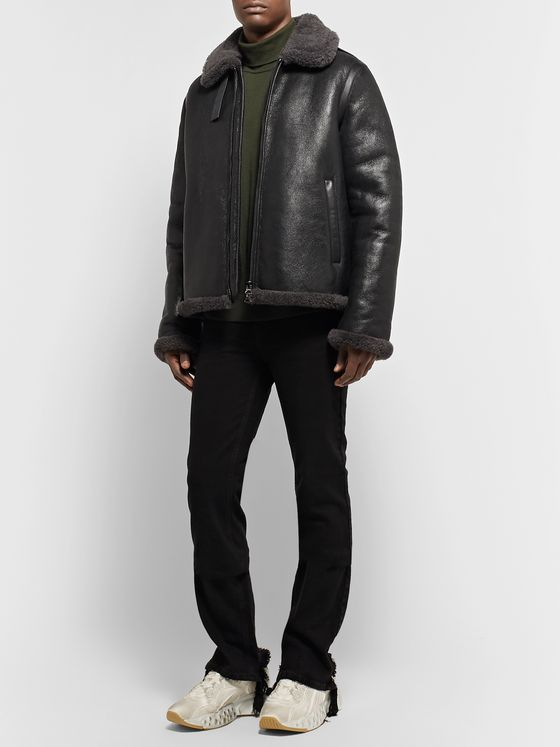 Acne Studios Shearling-Trimmed Leather Jacket