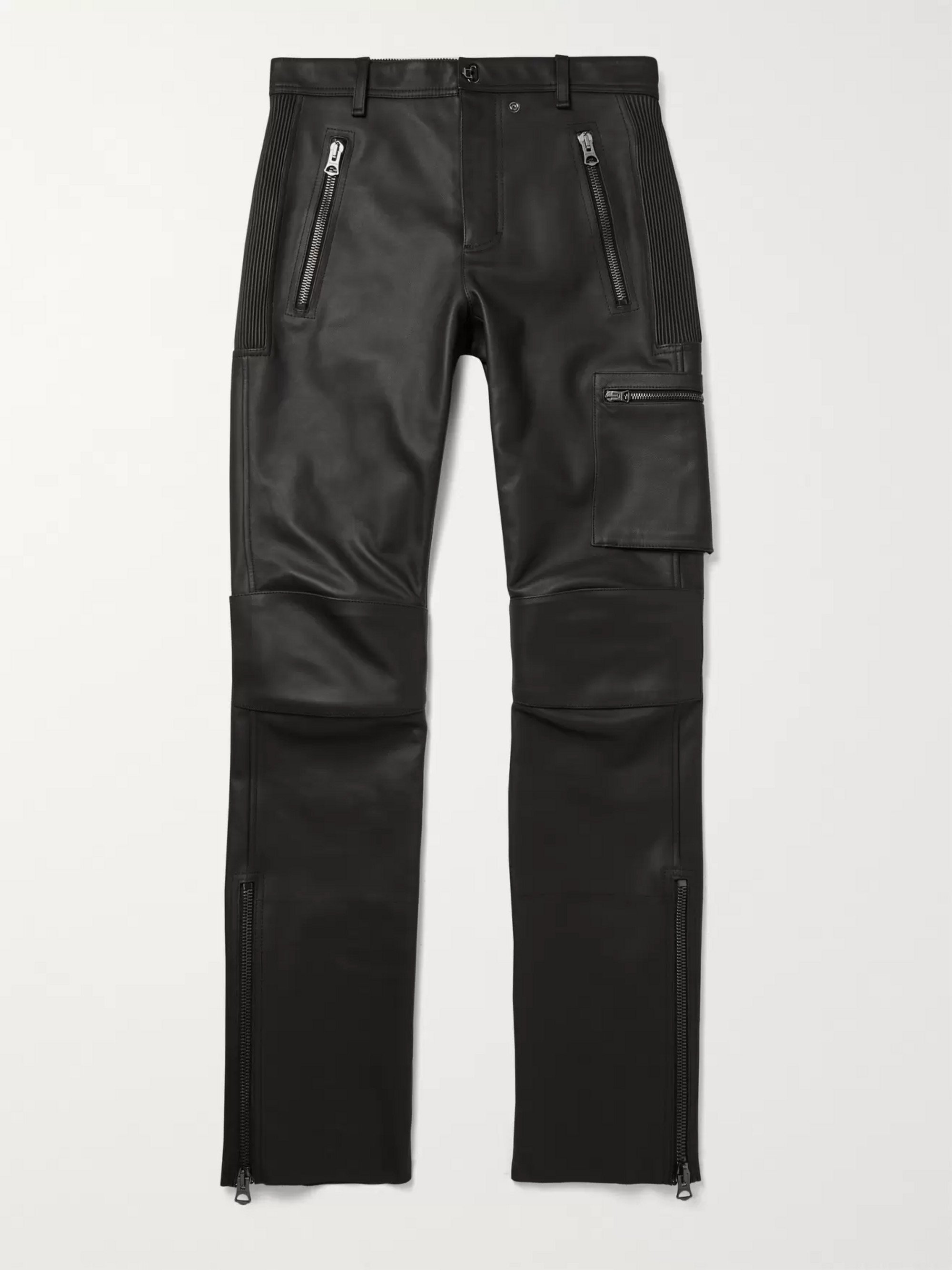 Acne Studios Slim-Fit Leather Biker Trousers
