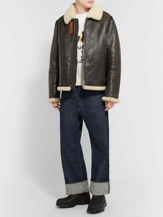 Acne Studios Shearling-Lined Textured-Leather Jacket
