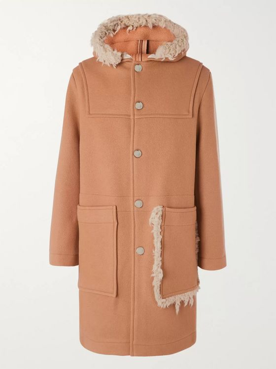 Acne Studios Shearling-Trimmed Brushed Wool-Blend Hooded Duffel Coat