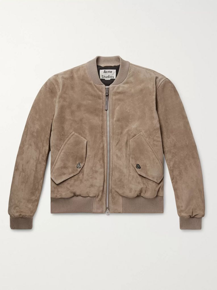 Acne Studios Faux Leather and Cotton Corduroy-Trimmed Suede Bomber Jacket