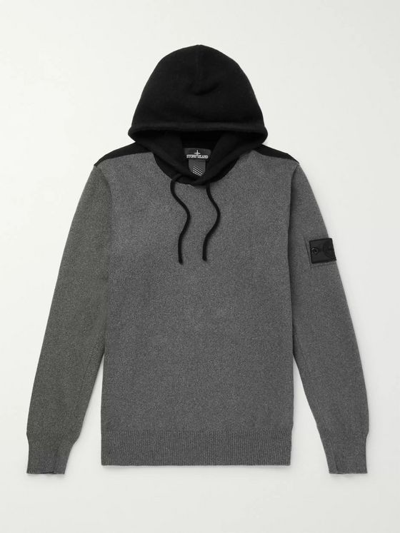 Stone Island Shadow Project Logo-Appliquéd Two-Tone Knitted Hoodie