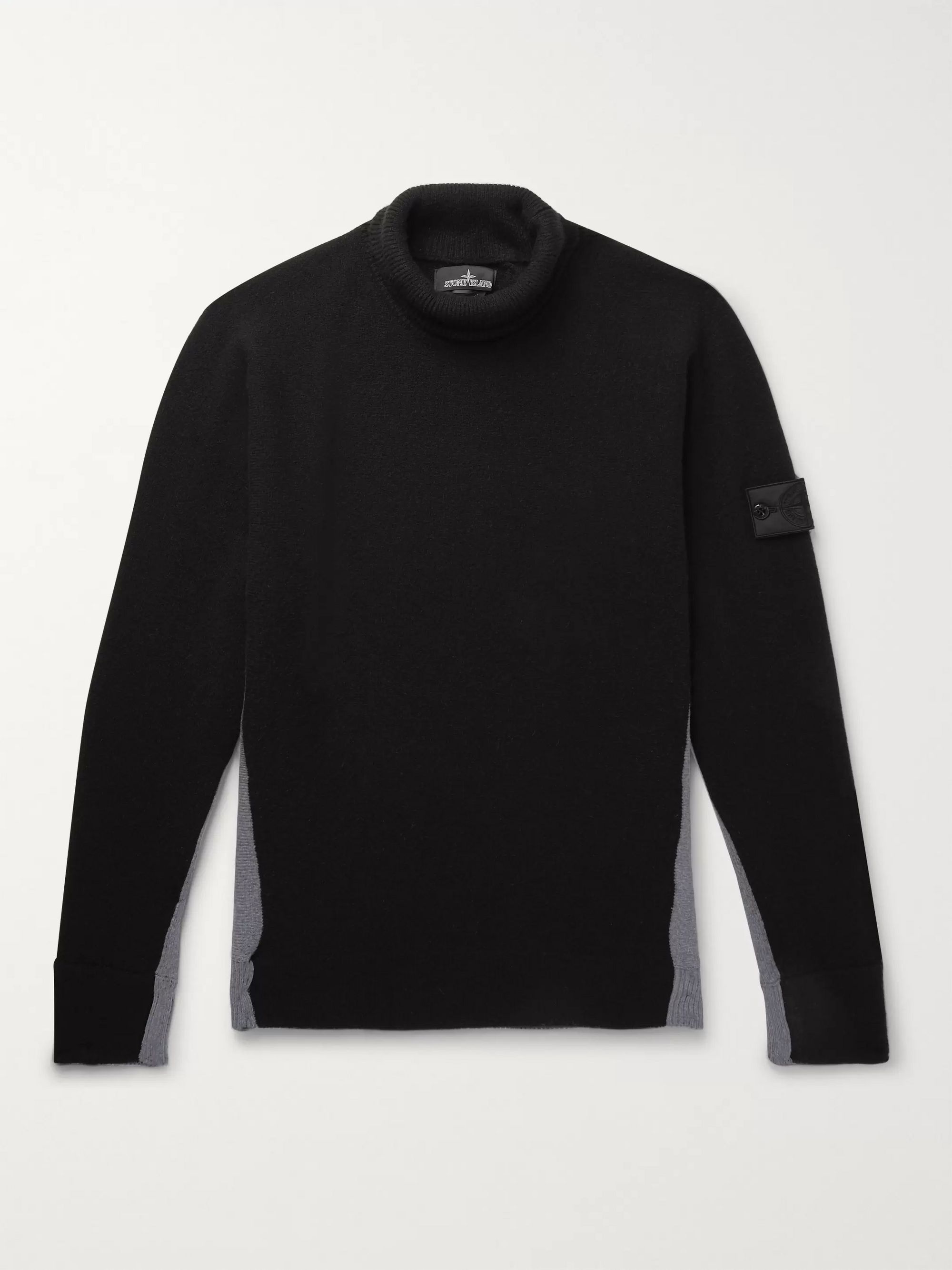 Stone Island Shadow Project Logo-Appliquéd Colour-Block Knitted Rollneck Sweater