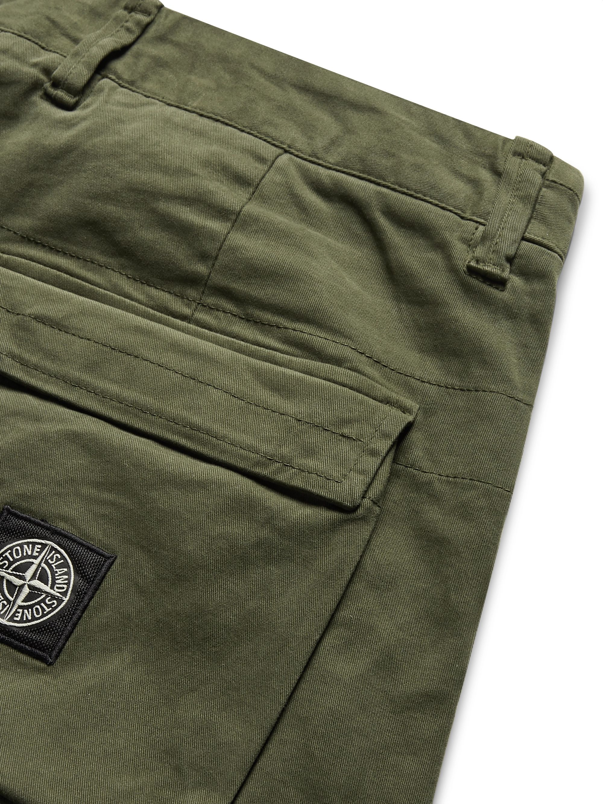 Stone Island Tapered Stretch-Cotton Twill Cargo Trousers