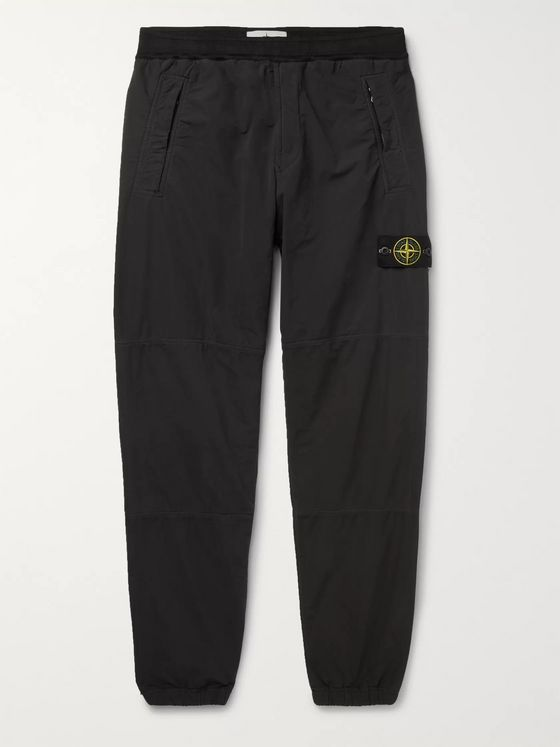 Stone Island Charcoal Tapered Garment-Dyed Shell Trousers
