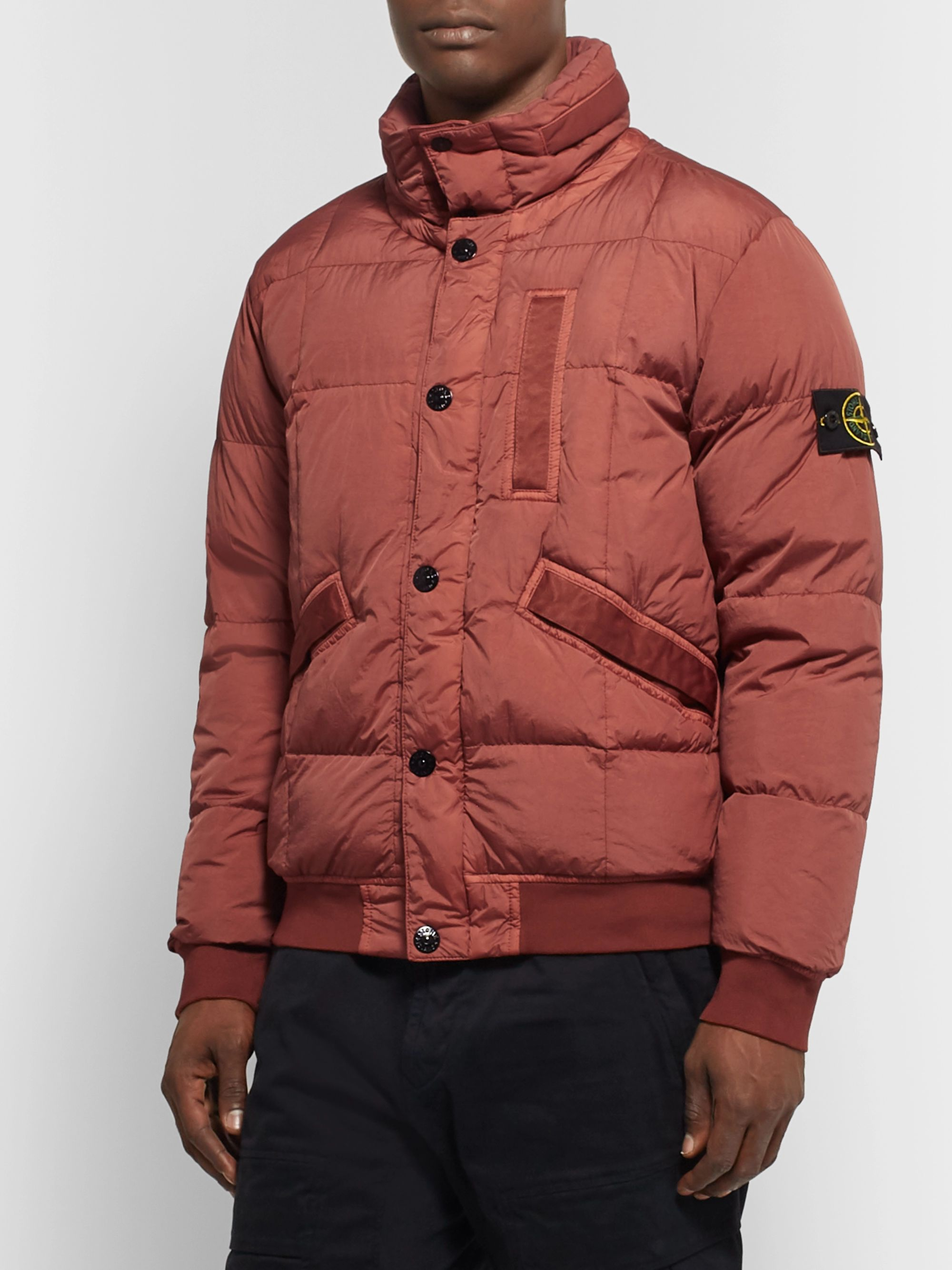 Stone Island Garment-Dyed Quilted Crinkle Reps Nylon Down Jacket