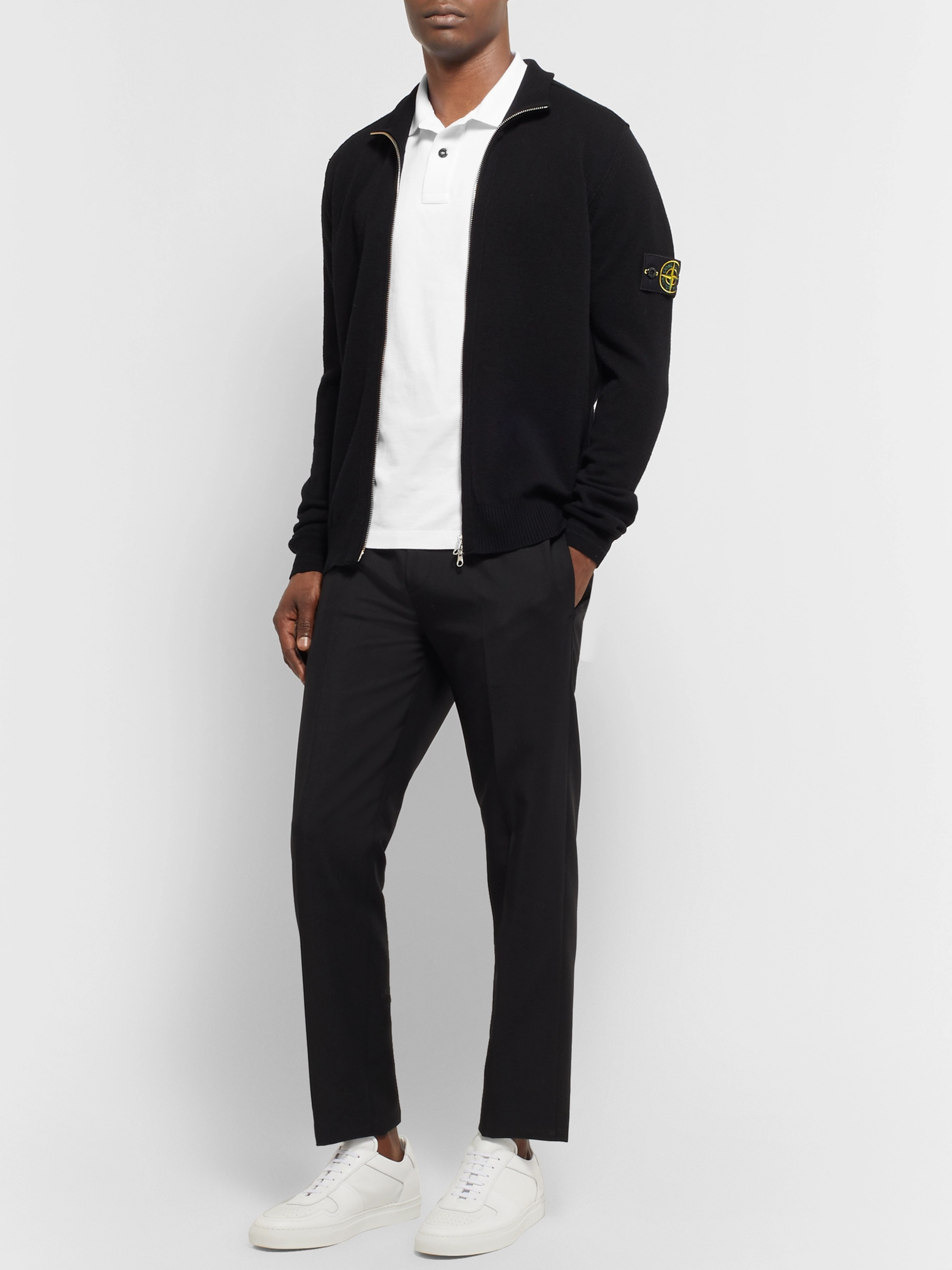 Stone Island Contrast-Tipped Stretch-Cotton Piqué Polo Shirt