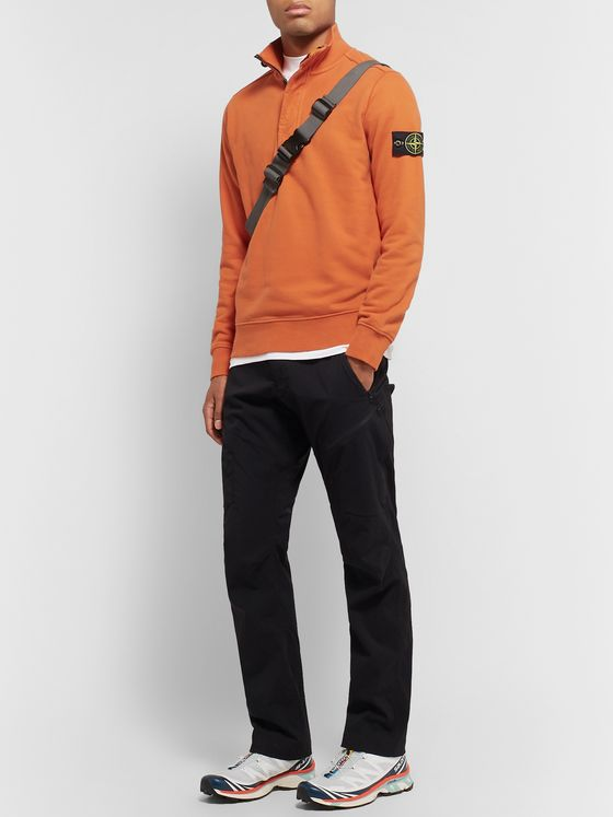 Stone Island Garment-Dyed Loopback Cotton-Jersey Half-Zip Sweatshirt