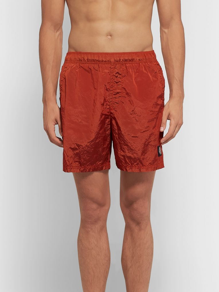 Stone Island Mid-Length Garment-Dyed Nylon Metal Swim Shorts