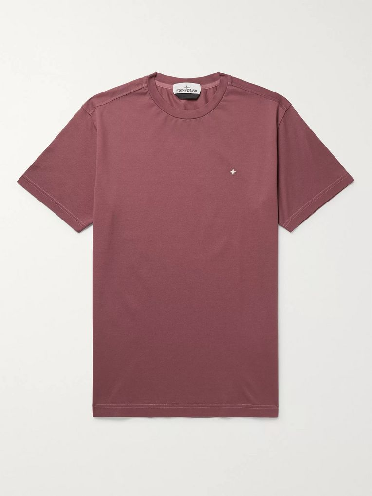 Stone Island Logo-Embroidered Cotton-Piqué T-Shirt