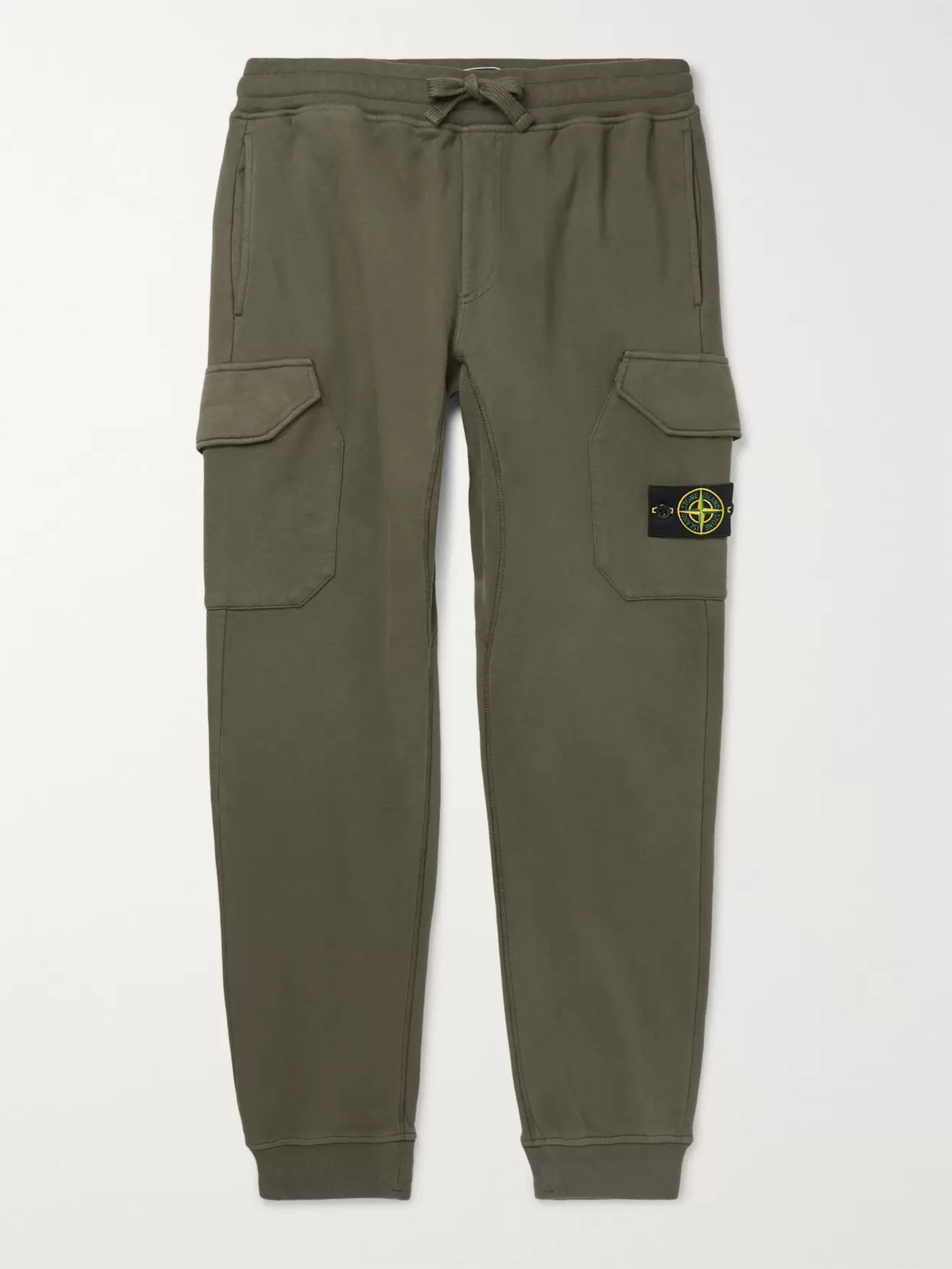 Stone Island Tapered Logo-Appliquéd Fleece-Back Cotton-Jersey Cargo Sweatpants