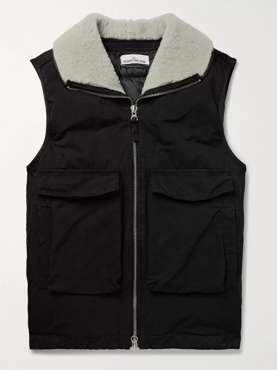 Stone Island Shearling-Trimmed David-TC Down Gilet