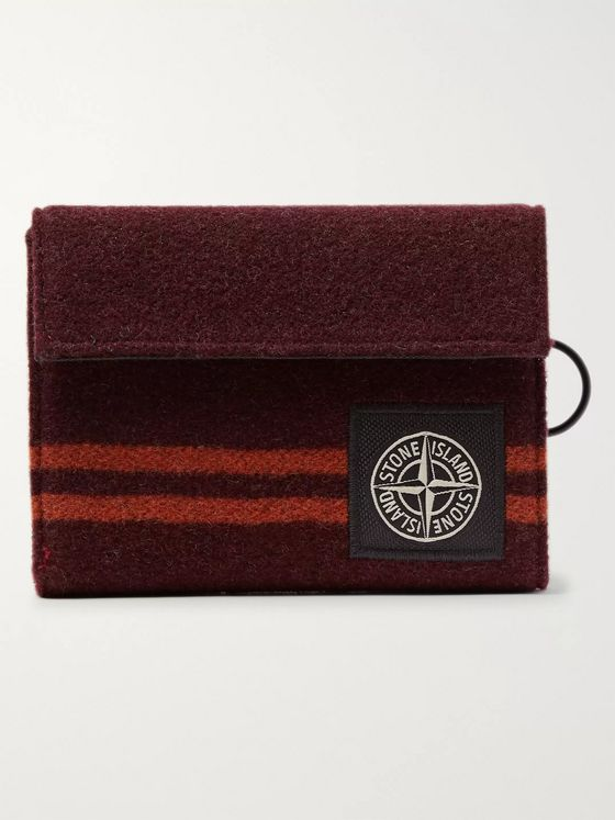 Stone Island Logo-Appliquéd Striped Wool-Blend Billfold Wallet