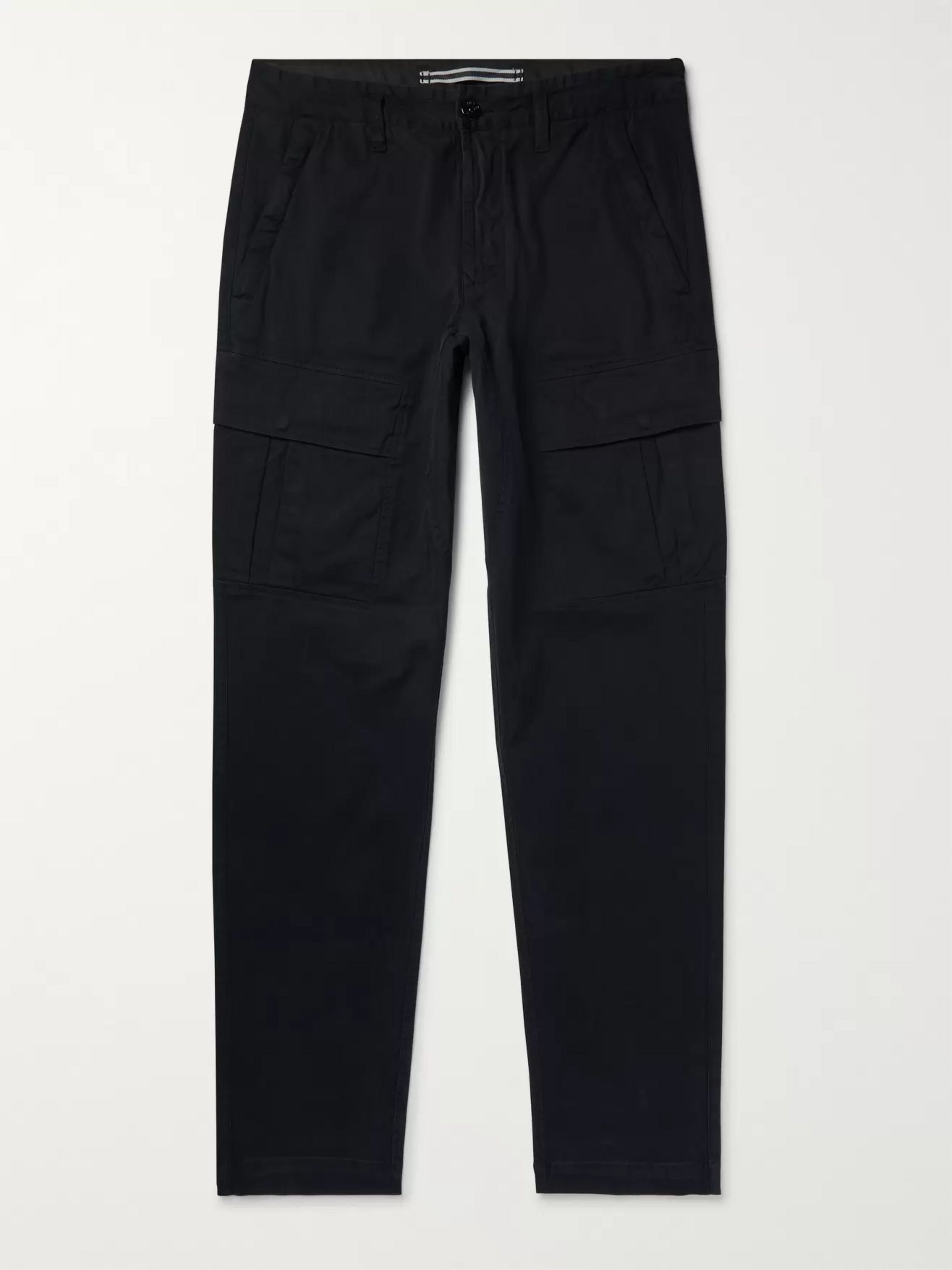 Stone Island Navy Tapered Brushed Stretch-Cotton Twill Cargo Trousers
