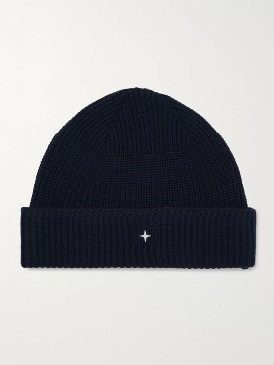 Stone Island Logo-Embroidered Ribbed Virgin Wool Beanie
