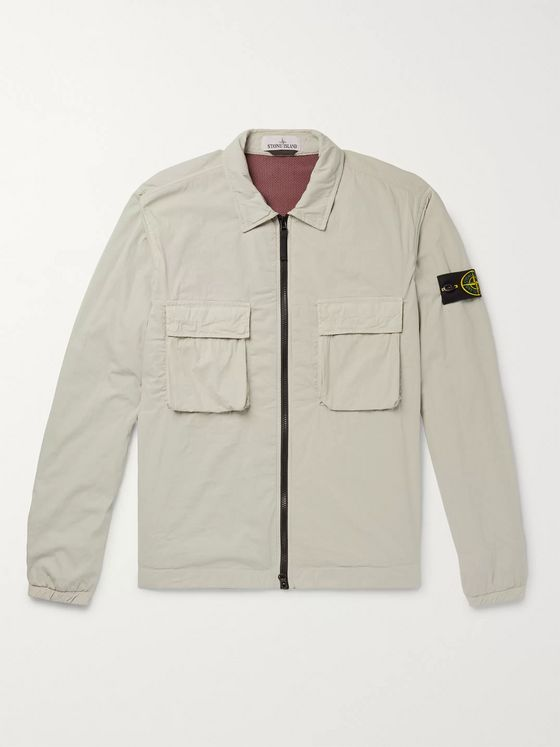 Stone Island Logo-Appliquéd Garment-Dyed Cotton and Nylon-Blend Jacket