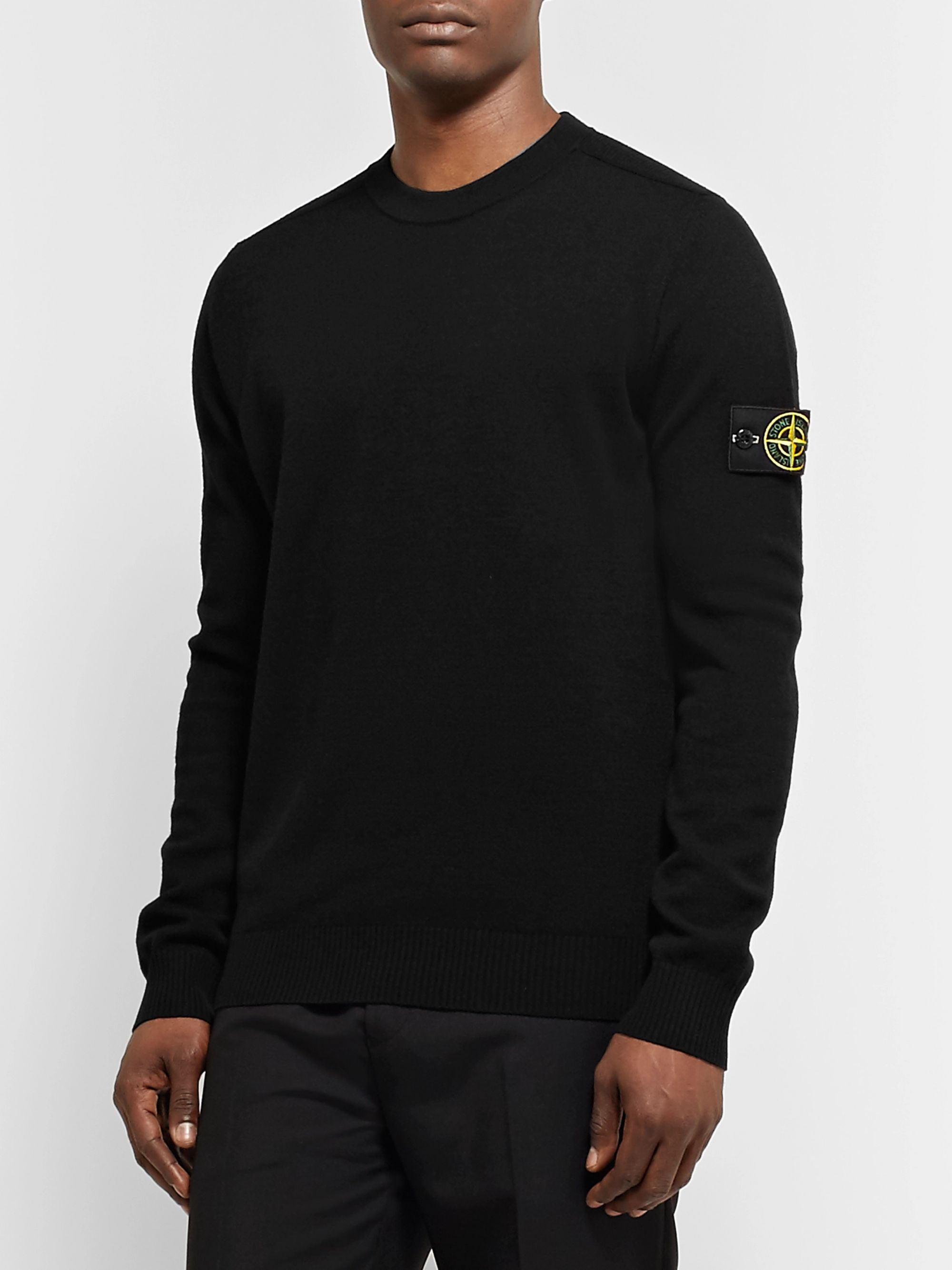 Stone Island Logo-Appliquéd Wool-Blend Sweater