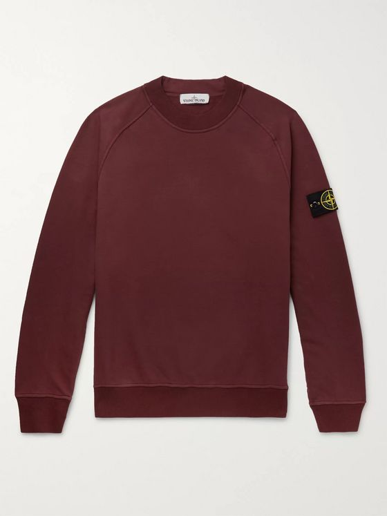 Stone Island Logo-Appliquéd Garment-Dyed Fleece-Back Stretch-Cotton Jersey Sweatshirt