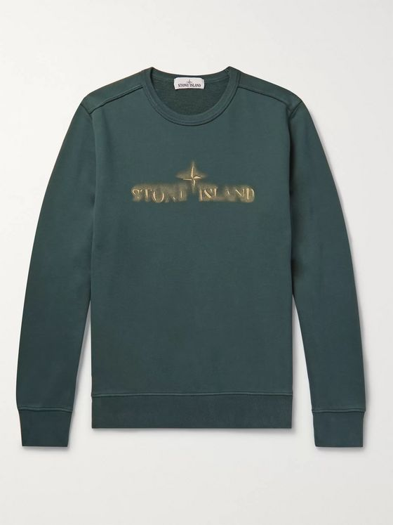 Stone Island Garment-Dyed Logo-Embroidered Loopback Cotton-Jersey Sweatshirt