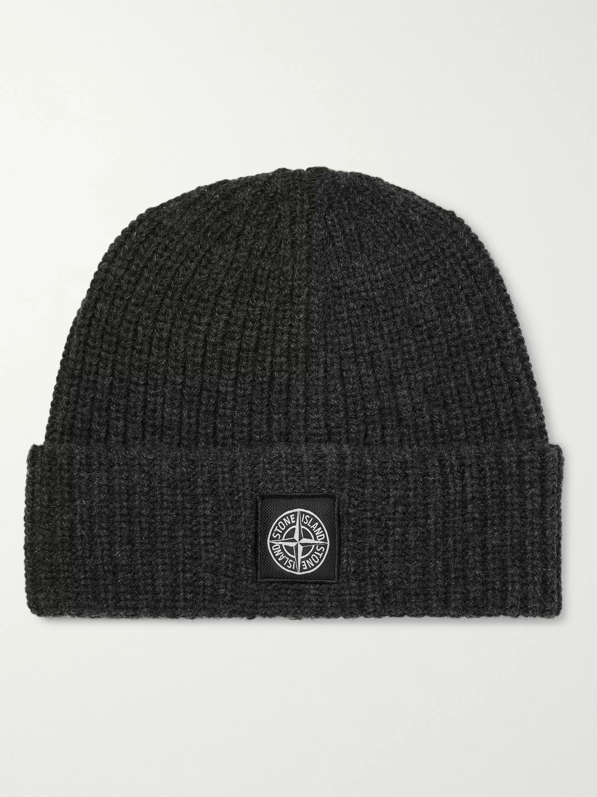 Logo Appliquéd Ribbed Wool Beanie by Stone Island