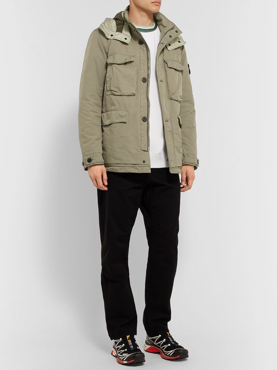 Stone Island David-TC Garment-Dyed Shell PrimaLoft Hooded Field Jacket