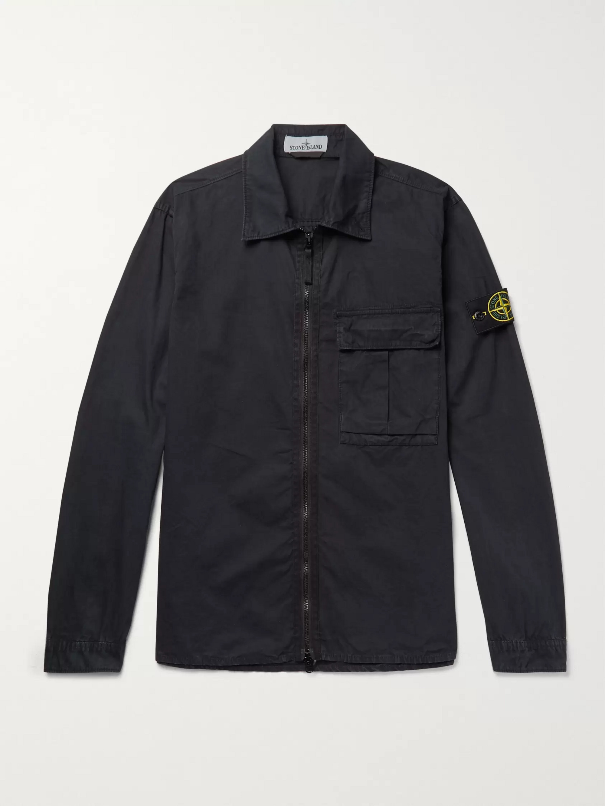 Stone Island Logo-Appliquéd Brushed-Cotton Overshirt