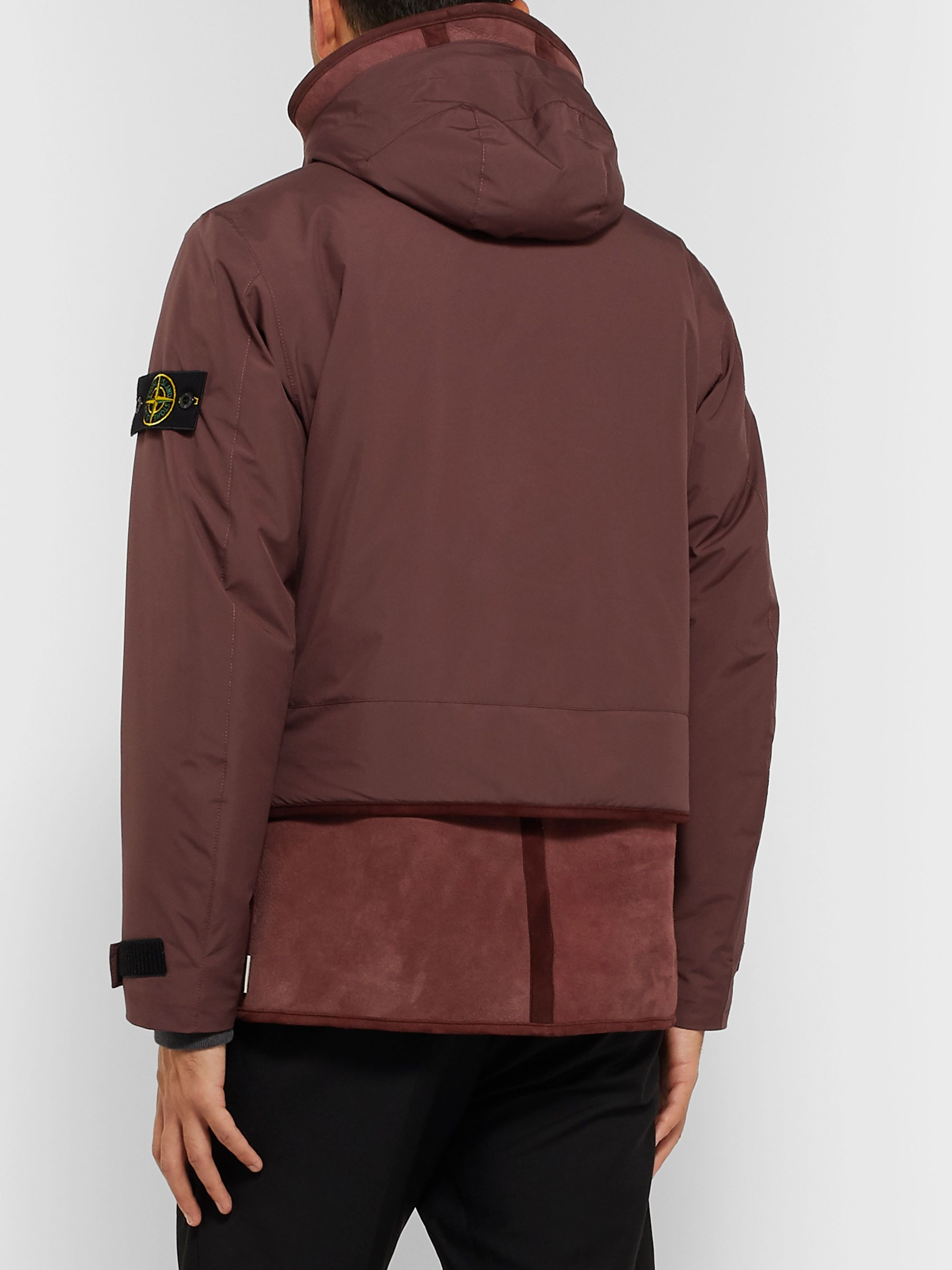 Stone Island Shearling-Panelled Garment-Dyed GORE-TEX Infinium Hooded Jacket
