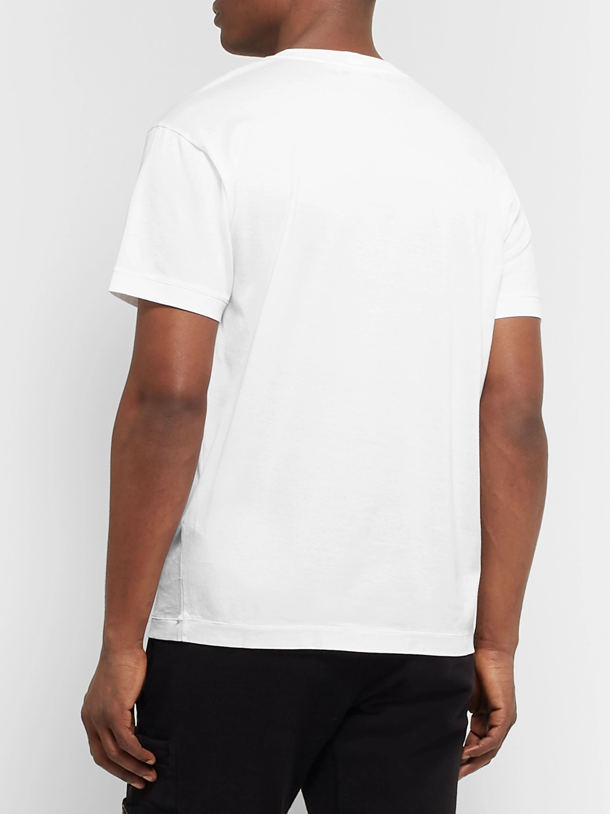 Stone Island Logo-Appliquéd Mercerised Cotton-Jersey T-Shirt