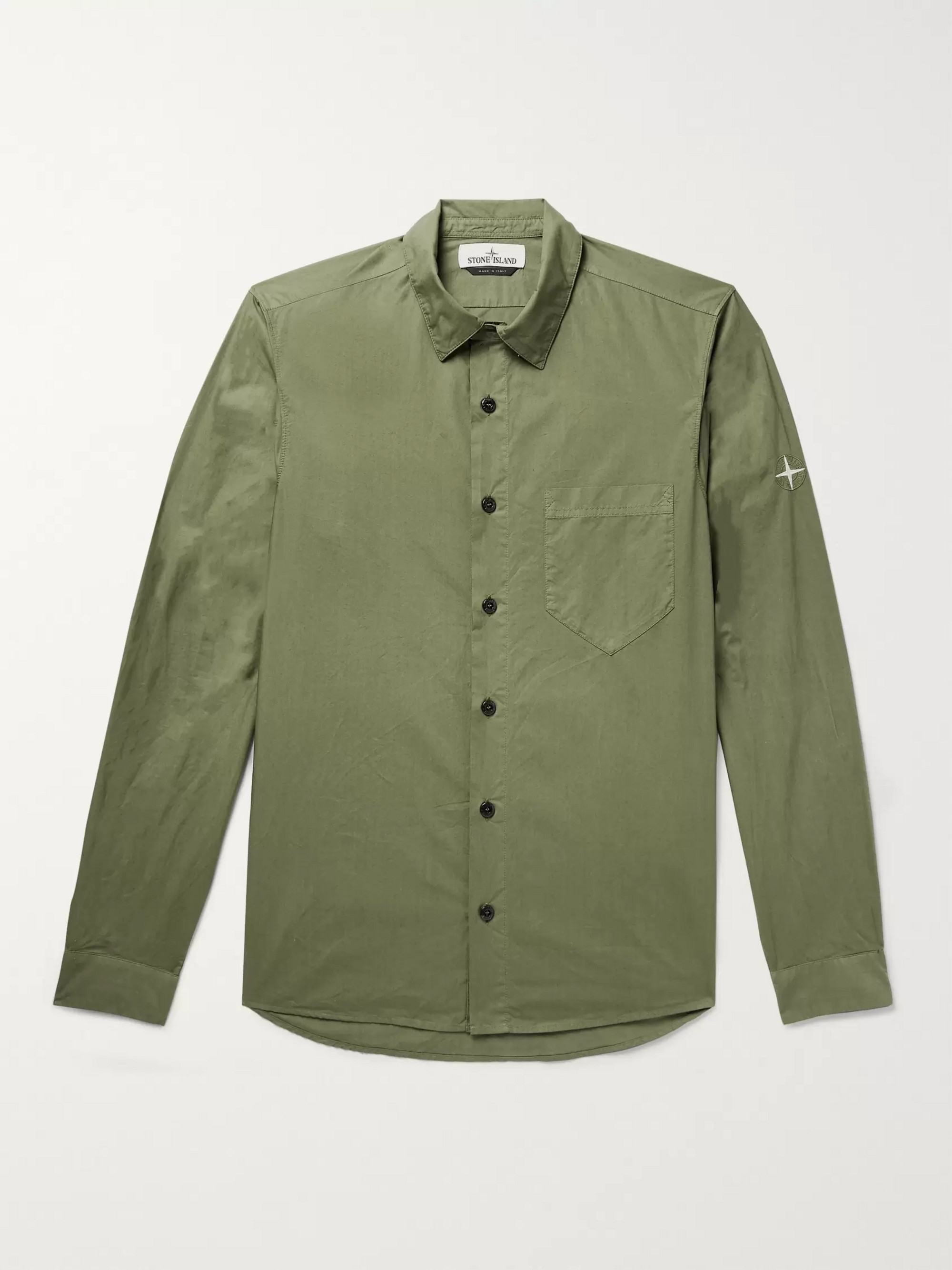 Stone Island Logo-Embroidered Cotton-Poplin Shirt