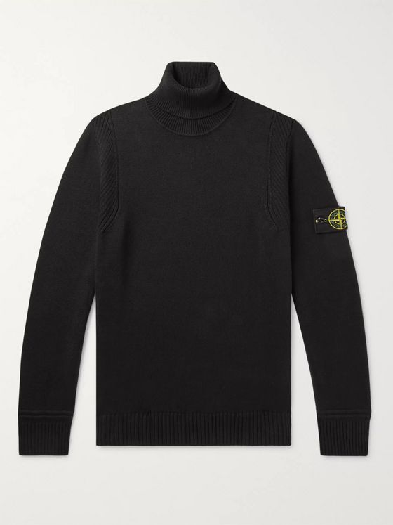 Stone Island Logo-Appliquéd Cotton-Blend Sweater